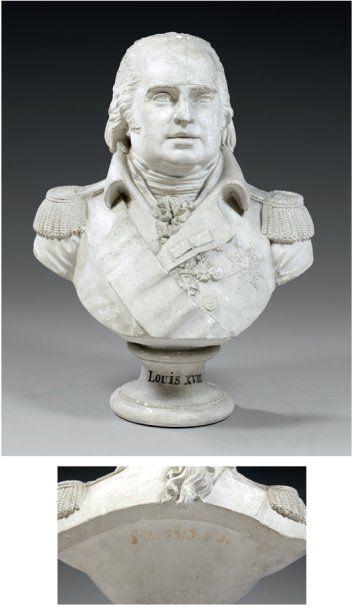 Buste de LOUIS XVIII en plâtre par le sculpteur...