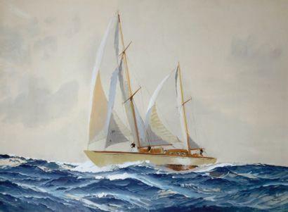 MARIN MARIE (1901-1987) Ketch sur une mer formée Gouache, signée en bas à droite...