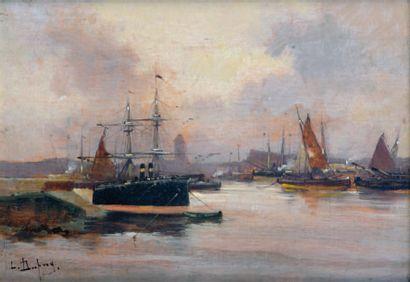 Eugène GALIEN LALOUE (pseud. DUPUY 1854-1941) Marine Huile sur panneau, signée an...