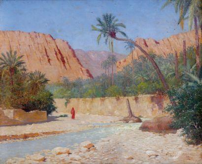 Constant LOUCHE (1880-1965) L'oasis Huile sur toile, signée en bas à droite (restaurations)...