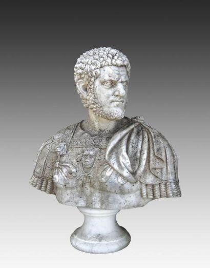 Buste de Néron en marbre sculpté sur piédouche...