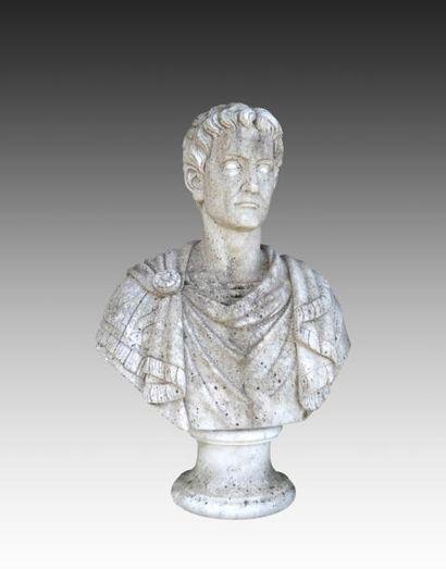 Buste d'empereur romain drapé sur piédouche...
