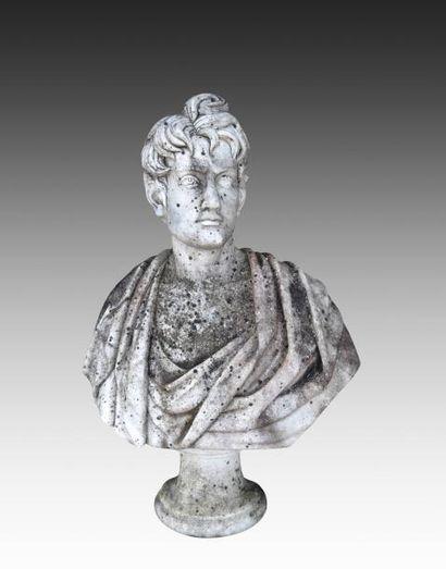 Buste d'homme drapé à l'antique en marbre...