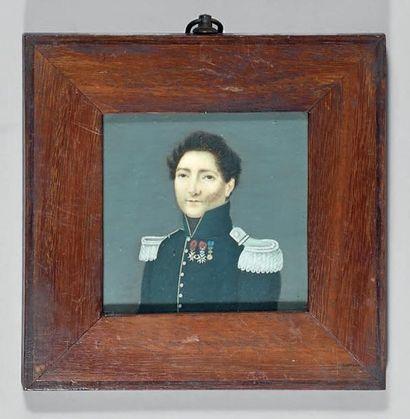 Miniature carrée sur ivoire: Portrait d'un...