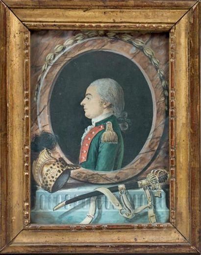 Joli dessin aquarellé et gouaché: Portrait...