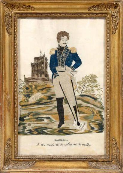 Broderie sur soie: Le général Daumesnil en...