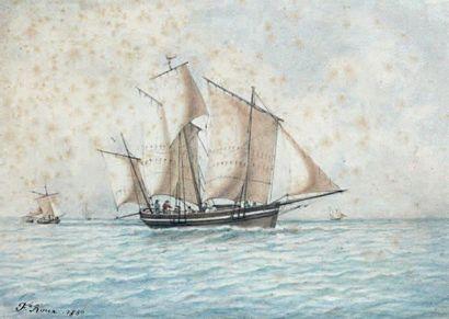 Frédéric ROUX (Marseille 1805 - Le Havre 1870) Bateau au large Plume et encre grise...