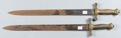 Deux petits glaives de la garde nationale de type 1831 (sans fourreau) Epoque seconde...