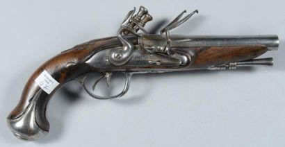 Pistolet à silex à double canon en table,...