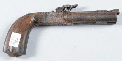 Pistolet à double canon en table système Eyraud (mauvais état) Milieu du XIXe