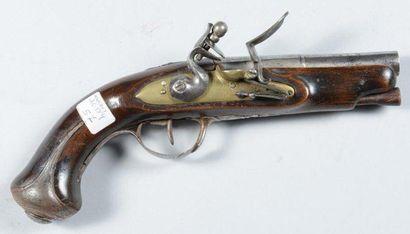 Petit pistolet à silex, platine en laiton,...