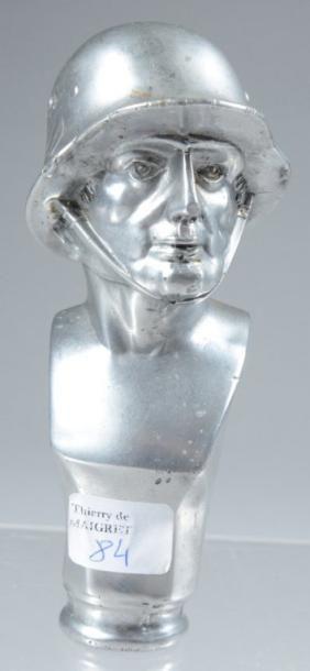 Pommeau de canne en métal blanc, représentant...