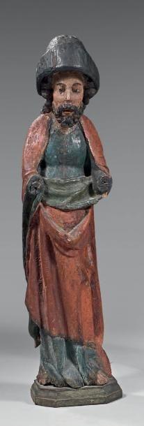Saint Séverin en bois sculpté polychrome....