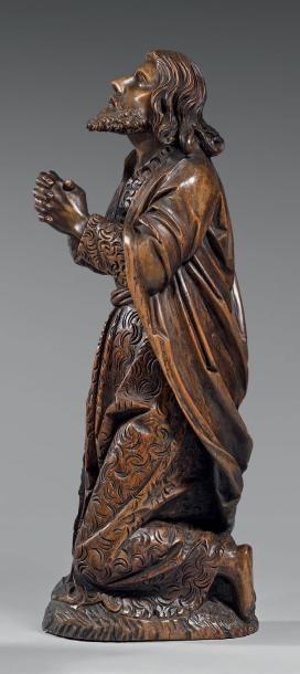Grande statue en bois sculpté en demis ronde-bosse...