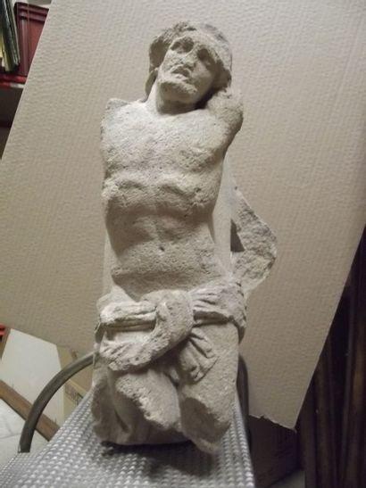 Christ de calvaire en pierre sculpté. Le...