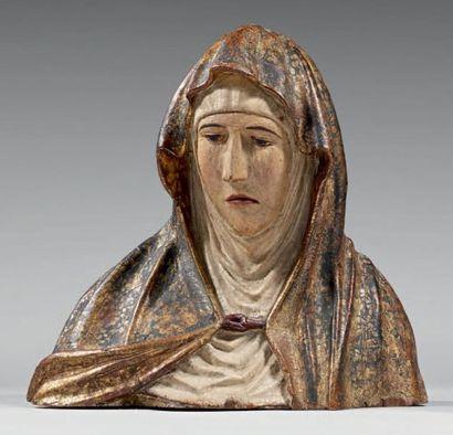 Vierge en méditation en bois sculpté polychrome...