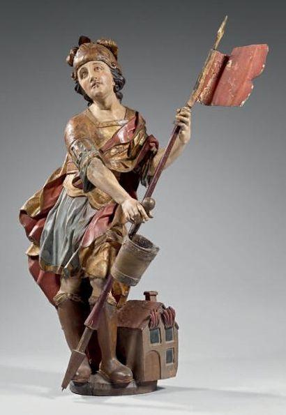 Saint Florian, en tilleul sculpté polychrome...