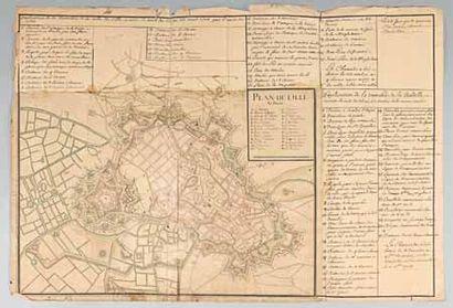 [MILITARIA - LILLE / MANUSCRIT]. «Plan de Lille en Flandre.» Plan manuscrit aquarellé...