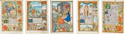 [MANUSCRITS ENLUMINÉS / FLANDRE]. Ensemble de cinq miniatures sur peau de vélin...