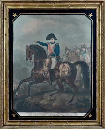 Grande gravure en couleurs: Napoléon à cheval...
