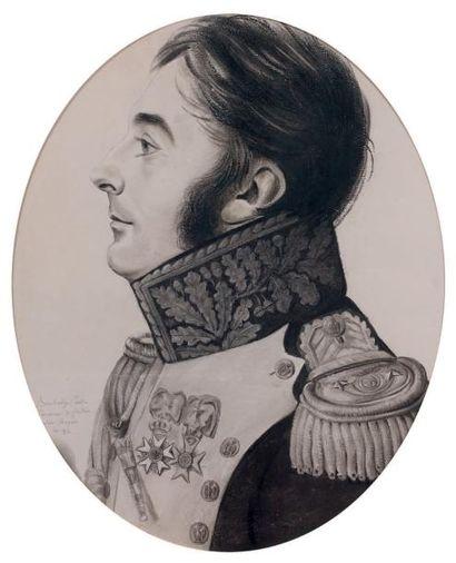Bouchardy, dessin au fusain de type physionotrace,...