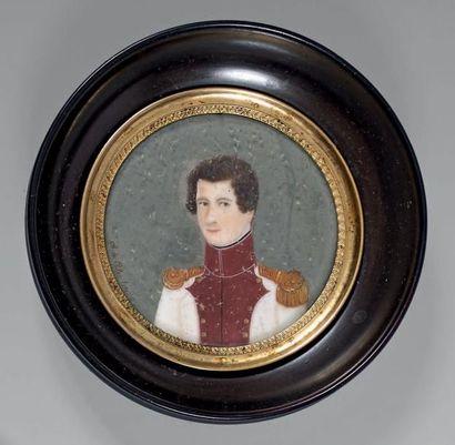 Ch. Polys, miniature ronde sur ivoire: Portrait...
