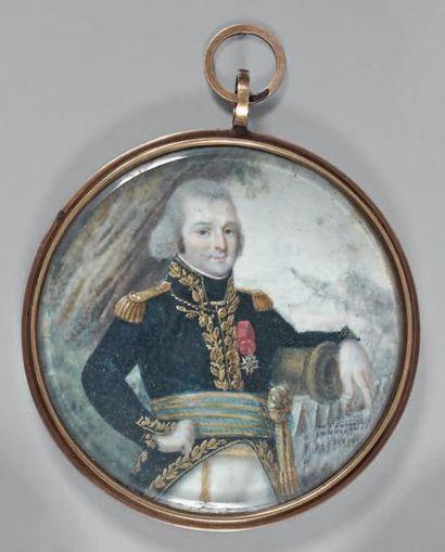 Miniature ronde sur ivoire: Portrait à mi-cuisses d'un général de brigade en grand...