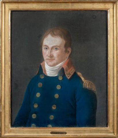Pastel: Portrait en buste d'un capitaine...