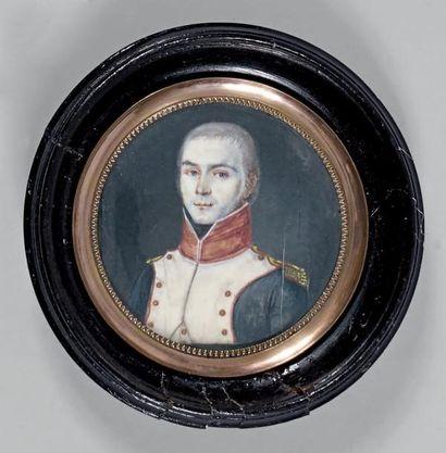 Miniature ronde sur ivoire: Portrait d'un...