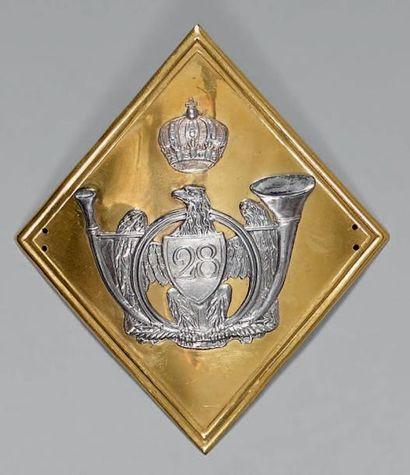 Plaque de shako d'officier du 28e régiment...