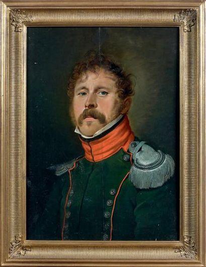 Huile sur bois parqueté rectangulaire: Portrait de trois quarts d'un capitaine du...