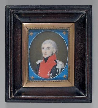 Miniature sur ivoire à vue ovale: Portrait...