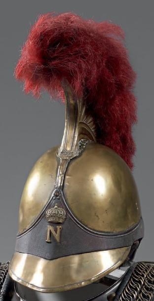 Rare casque de carabinier troupe modèle 1812,...
