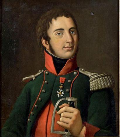 Huile sur toile: Portrait en buste de Jean-Baptiste...