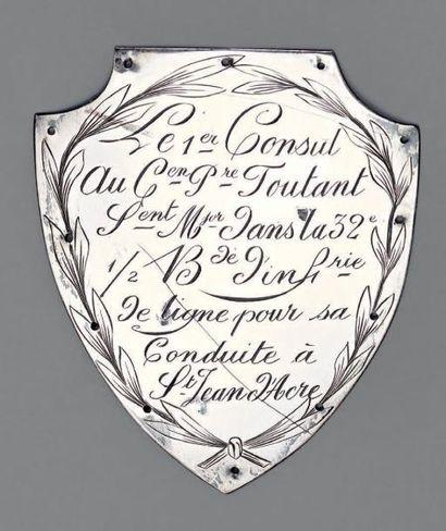 Plaque d'attribution de fusil d'honneur en...