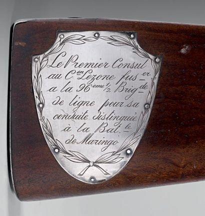 Fusil d'honneur décerné par le premier consul au citoyen Lezone fusilier à la 96e...