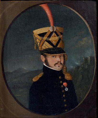 Huile sur toile rectangulaire à vue ovale: Portrait en buste d'un chef de bataillon...