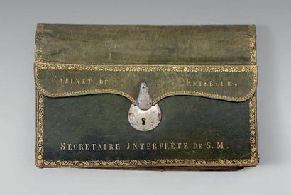 Portefeuille en maroquin vert doré aux fers,...