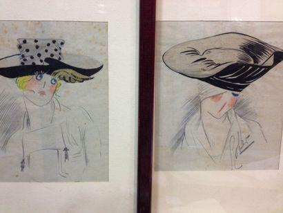 Deux dessins originaux de chapeaux pour la...