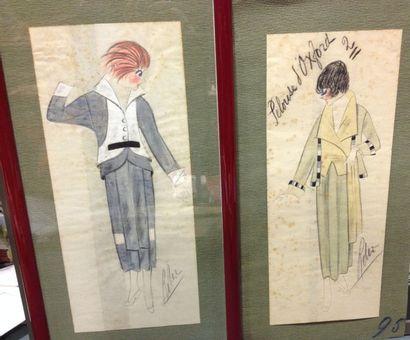 Trois beaux dessins originaux pour la Mode,...
