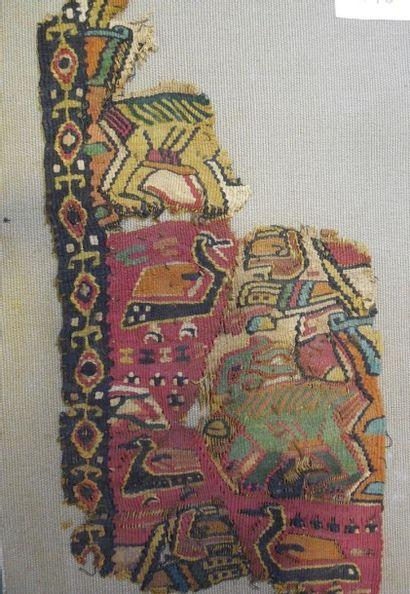 Fragment de tapisserie fine polychrome, Faustat,...