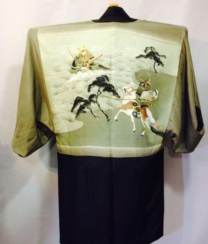 Kimono court pour homme et ceinture Obi d'enfant,...