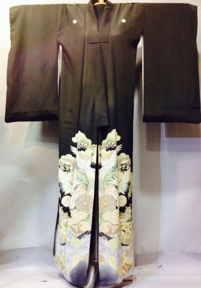 Kimono Hori long, Japon, XXe siècle. Satin...