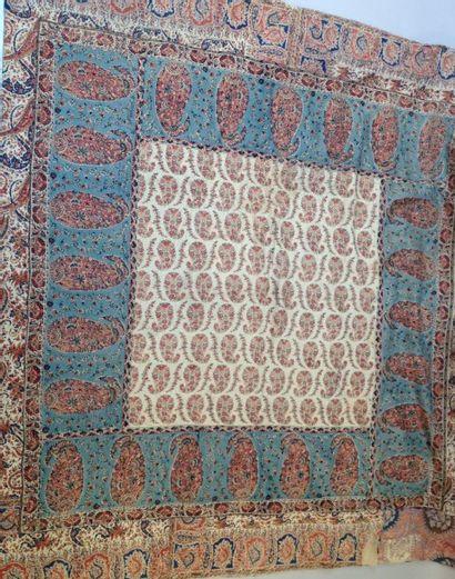 Tenture en laine imprimée de palmes cachemire,...
