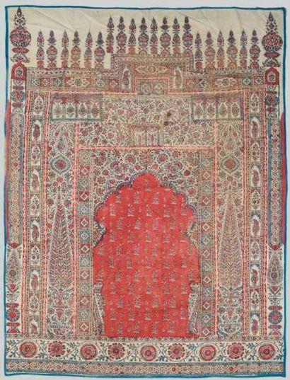 Beau tapis de prière en Kalamkari, Perse...