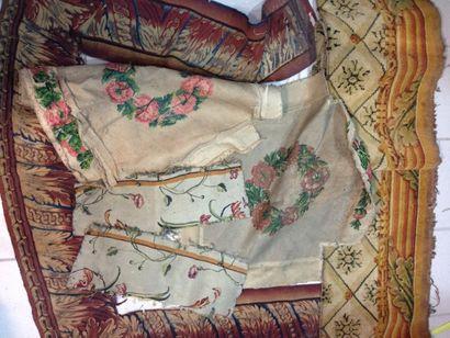 Fragments de tapisserie fine ou tapis, XVIIIe...