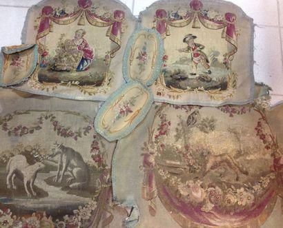 Deux garnitures de sièges cabriolet en tapisserie,...