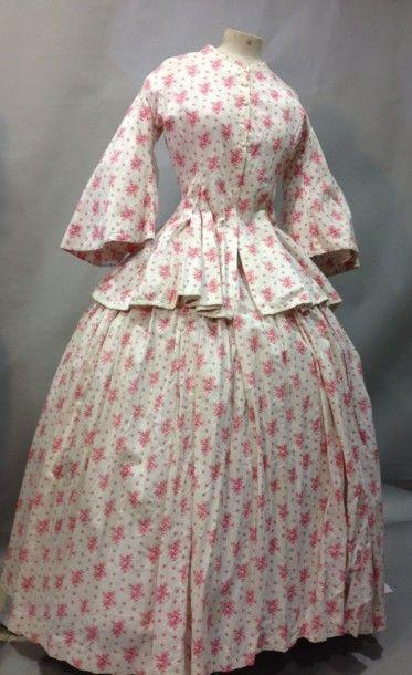 Robe d'été en coton imprimé, vers 1880. Coton...