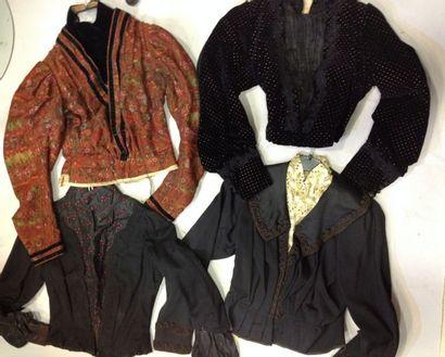Lot de quatre corsages de robes, vers 1880-1890.Trois...