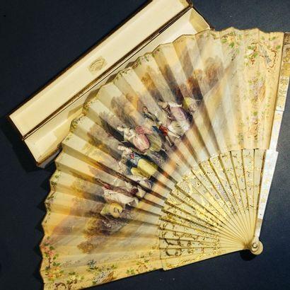 Eventail plié, style Louis XVI, vers 1880-90....